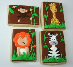 Perfect for a jungled-themed birthday party! Galletas Cookies, Baby Cookies, Baby Shower Cookies, Iced Cookies, Cute Cookies, Cupcake Cookies, Sugar Cookies, Giraffe Cookies, Cookie Frosting