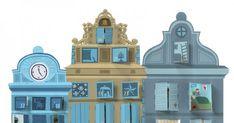 Un calendrier de l'avent sous forme de façades numérotées.