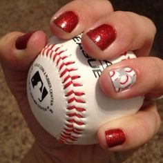 Red Sparkle with Baseball accent | Kristina, Independent Jamberry Nail Consultant - Shop at: www.jamberrybykristina.jamberrynails.net - Connect at: www.facebook.com/jamberrybykristinavanhorn