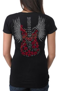 Women's Rose Skeleton Guitar With Wings Rock Goth Graphic Art Printed T-Shirt