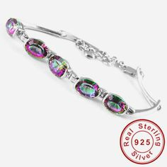 Natural Mystic Rainbow Topaz Bracelet Genuine Solid 925 Silver Only $199.9 => Save up to 60% and Free Shipping => Order Now! #Bracelets #Mystic Topaz #Earrings #Clip Earrings #Emerald #Necklaces #Rings #Stud Earrings