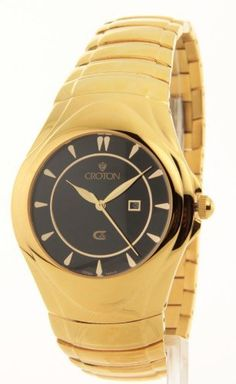 Men's Black Dial Gold Tone Stainless Steel Croton. $49.95. Save 80% Off!