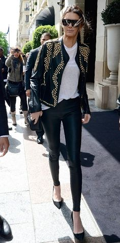 Kendall Jenner -- that leather jacket! Perfect for fall and winter