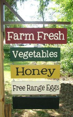 Your Own CUSTOM Farm Stand Sign Farmer's Market by GreenChickens.cute idea for a sign with the name of our little farm.Troll Haven wedding venue and family farm located in Sequim, WA Farmers Market Signage, Farmers Market Recipes, Deco Cafe, Vegetable Stand, Farm Store, Future Farms, Fruit Stands, Farm Signs, Market Garden