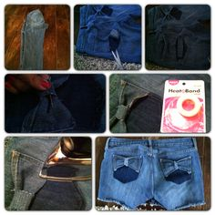pocket bow /cutoff jeans  DIY jean shorts :D made by me!