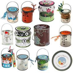 Lots of ideas for decorating the Stampendous Pails    source: Oh My Crafts website... STAMPENDOUS : CLEAR 1 QUART PAIL W/ HANDLE