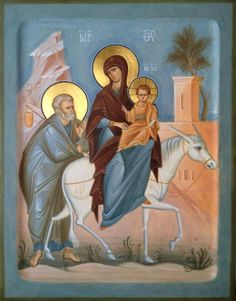 Order a painted icon of the Flight into Egypt. Icon painting studio of St Elisabeth Convent will paint an Orthodox Icon of any size and difficulty Byzantine Icons, Byzantine Art, Religious Icons, Religious Art, Flights To Egypt, Greek Icons, Paint Icon, Religion, Russian Icons