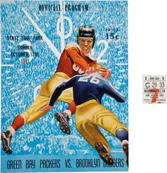 Football Collectibles:Programs, 1941 Cecil Isbell Signed Green Bay Packers vs. Brooklyn DodgersProgram and Ticket Stub.