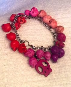 Sugar Skulls Red, Pinks, and Purples Charm Bracelet {evezbeadz.ArtFire.com} $ 10 $