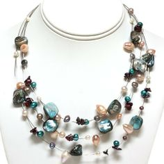 """3-Row Multi-Color Genuine Freshwater Pearl Necklace 16"""" With A Lobster Clasp Gem Stone King, http://www.amazon.com/dp/B00632ANO2/ref=cm_sw_r_pi_dp_Q2D4qb0A7YFKP"""