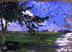 "bofransson: "" Landscape with Apple Tree, 1906 Wassily Kandinsky "" Wassily Kandinsky, Landscape Art, Landscape Paintings, Cavalier Bleu, Statues, Art Moderne, Modern Artists, Art Abstrait, Russian Art"