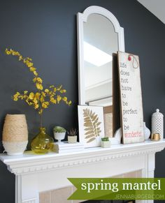 Simple accessories + Seasonal Succulents = A perfectly styled Spring Mantel.  Design by @Jenna_Burger. www.jennaburger.com