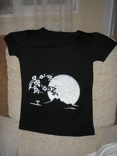 Camiseta pintada a mano. Paisaje nocturno 462036566e4d8