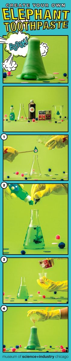Step-by-step to fun, oozing chemical reaction! Science Experiments Kids, Science Fair, Science For Kids, Science Activities, Elephant Toothpaste, Chemical Reactions, Brain Games, Classroom Ideas, Fun Stuff