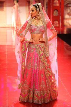 Orange & Pink designer bollywood replica bridal lehnga choli in pure silk #LehengaCholi #IndianWedding #Reception