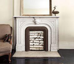Empty or unused fireplace decor