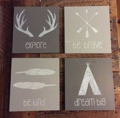 Rustic Tribal Wall Art Decor, Boho Boys Decor, Woodland Nursery, Woodland Decor, Kids Bedroom Decor, Dream Big, Be Brave, Explore, Be Kind