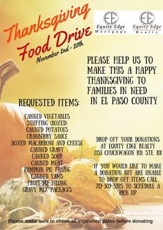 Help families in need this Thanksgiving with our First Ever Thanksgiving food drive! #fooddrive #thanksgiving