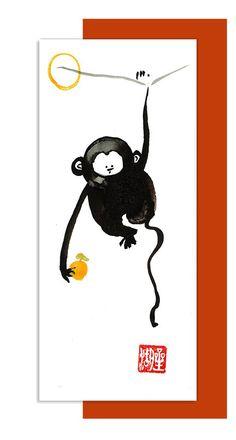 Monkey, Chinese New Year, Zen Chinese Zodiac, Original Sumi ink Zen Painting, zen decor, zen japanese illustration, childrens room art, 2016