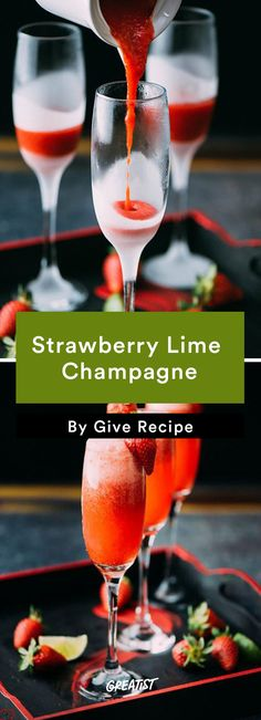 9 Champagne Cocktails That One-Up Boring Mimosas Strawberry Lime Champagne Recipe<br> Life's too short to only drink champagne on New Year's. Get popping. Rum Cocktails, Beste Cocktails, Juice Drinks, Summer Cocktails, Mix Drinks, Cranberry Champagne Cocktail, Champagne Margaritas, Champagne Recipe, Cocktails With Champagne