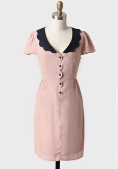 Ruche--Fiona Collared Dress By Tulle Modern Vintage Dress, Vintage Dresses, Vintage Fashion, Taupe Dress, Pink Dress, Dress Up, Womens Fashion For Work, Work Fashion, Fashion Hair