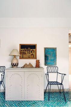 Sol chevrons turquoise pour un style rustique mais chic...   @Decocrush