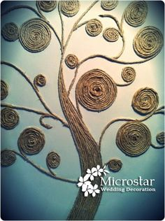 Beautiful Rope twined Tree as a Wall Art. This is another creative idea to use the leftover rope to twine in the shape of the tree.It can be a wonderful wall art for your home decor.twine tree--why not use scrap fabric twine?Art twine tree - I would paint Tree Wall Art, Diy Wall Art, Diy Art, Twine Crafts, Diy And Crafts, Arts And Crafts, Recycled Crafts, Decor Crafts, Wood Crafts