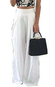 Orient Mystic Womens Vogue Wide Leg Elegant Comfy Simple Palazzo Pants White China M/US XS