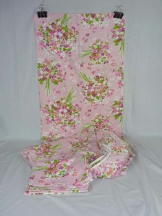Vtg Burlington Twin Set Sheets Flat Fitted 2 Cases Pink Floral Posey 50/50 Perca
