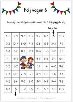 Följ vägen 6 - En labyrint med addition, subtraktion och multiplikationstal