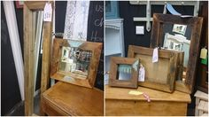 Our new Rustic collection, which includes 3 mirrors and 2 picture frames, they are all made from antique 100 year old joists, they measure 43x45, 30x31, 41x56, 52x77, 31x150 all measure at 6cm depth.From right to left prices £62, £52, £26, £38, £79.