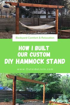 I walk through the complete process of building your own custom DIY hammock arbor structure for you to kick back and relax in your backyard! Diy Hammock, Backyard Hammock, Outdoor Hammock, Backyard Retreat, Backyard Playground, Hammock Stand, Hammock Ideas, Hammocks, Backyard Paradise