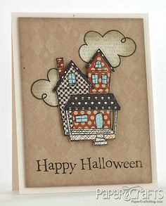 handmade Halloween card from Moxie Fab World ... paper pieced spooky house and clouds ... kraft base with pale white harlequin pattern  ... great use of patterned papers for the different parts of the house ...