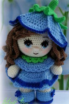 PDF Мастер-класс крючком по вязанию куклы пупс амигуруми в костюме колокольчика #схемыамигуруми #амигуруми #вязаныеигрушки #вязанаякукла #amigurumipattern #crochetdoll #amigurumidoll Knitted Doll Patterns, Crochet Doll Pattern, Knitted Dolls, Amigurumi Patterns, Crochet Dolls, Crochet Patterns, Crochet Art, Cute Dolls, Doll Face