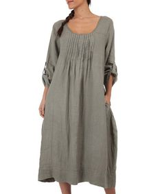 Look what I found on #zulily! Khaki Pin-Tuck Linen Shift Dress by 100% LIN #zulilyfinds
