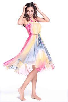 ZLYC Women Summer 2 Way Use Colorful Ruffle Maxi Skirt Vacation Bandeau Dress at Amazon Women's Clothing store: