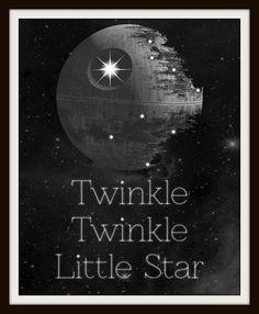 Twinkle Twinkle Little Death Star Typography Nursery Art | Geek-a-bye Baby