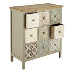 Wooden storage cabinet in light grey W 75cm