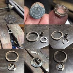 """Here's how Jared and Beth's halo engagement ring came together. First time making one like this with the centre stone """"suspended"""" within the halo. Think it was my first time making an octagon too Jewelry Tools, Metal Jewelry, Custom Jewelry, Handmade Jewelry, Jewelry Design, How To Make Rings, Gold And Silver Rings, Jewelry Making Tutorials, Fantasy Jewelry"""