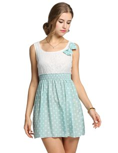 Green Polka Dot Bow Mini Lace Patchwork Dress