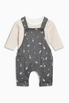 Charcoal bunny Jersey Dungarees And Bodysuit (0mths-2yrs)