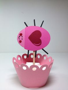The Heart Bug Cupcakr Topper by JellyBeanPaper on Etsy, $7.00