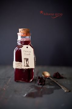 Hibiscus flower infused in sugar water, flavored with spice and lemon makes the gorgeous hibiscus syrup.