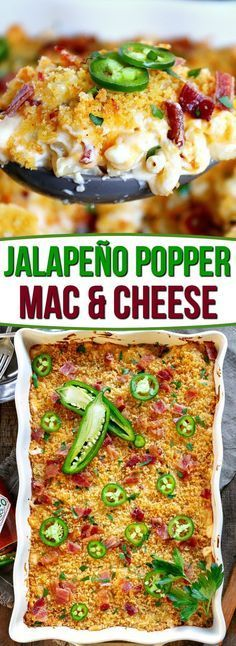 The BEST Jalapeño Popper Mac and Cheese you'll ever try! - CasserolesThe BEST Jalapeño Popper Mac and Cheese you'll ever try! Extra creamy, loaded with bacon, cream cheese, and jalapeños, this delicious and easy mac and cheese is sure to be a n Macaroni Cheese Recipes, Pasta Recipes, Cooking Recipes, Healthy Recipes, Cream Cheese Recipes Dinner, Dishes Recipes, Recipes With Bacon Dinner, Easy Bacon Recipes, New Recipes For Dinner