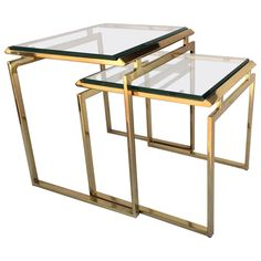 View this item and discover similar for sale at - For your consideration polished brass nesting tables two with inset beveled glass tops. Designed by Milo Baughman, circa Large tables are H Square Glass Coffee Table, Glass Dining Table, Metal Side Table, Side Tables, Milo Baughman, Nesting Tables, Beveled Glass, Polished Brass, Table Furniture