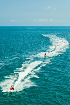 A classic game of follow the leader on a high speed Jet Ski. #FuryKeyWest