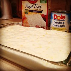 Take a box of Angel Food Cake mix (just the contents of the box, no need to follow the directions on the box), & combine it with a 20 ounce can of crushed pineapple in its own juice. (No need to use a mixer, just stir it with a spoon) When you do this, something magical happens.  The mixture starts to froth & it turns into an amazingly airy, fluffy bowl of deliciousness right before your eyes. Once it's all mixed up,grease and simply pour it into a 9 x 13 cake pan & bake 350 for 30 minutes