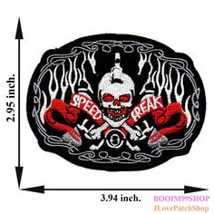 'Speed Freak Logo Biker Skull Patch' Iron on Patch 2.95'x3.94' Appliques Hat Cap Polo Backpack Clothing Jacket Shirt DIY Embroidered Iron on / Sew on Patch ** You can get more details by clicking on the image.