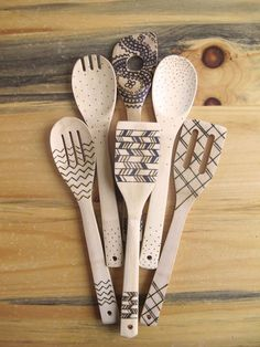 Wood burned kitchen utensils, bamboo wooden spoons, #kitchenutensils Whether you like to cook or not, these wooden spoons will be a conversation starter during your next get together. Bring a little art into your kitchen with these hand burned cooking utensils. All six come in the pack. These cooking utensils are food safe. The designs are burned in. Not painted on or drawn on; which means the designs will not rub off or wear down over time. **Designs will be similar to ones shown in picture…