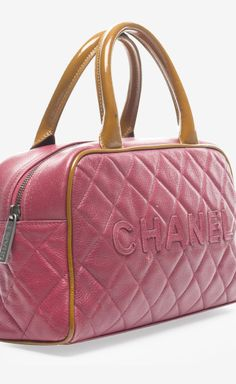 Chanel Pink Caviar Quilted Tan Bowler Bag | VAUNTE